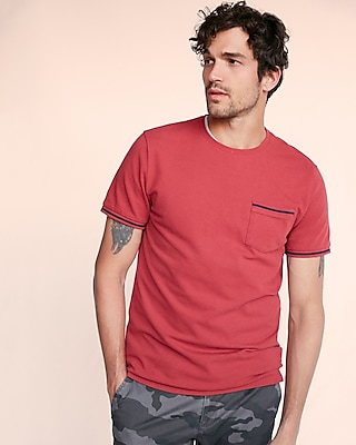 Express Mens Pique Tipped Crew Neck Tee Red Medium 12845231