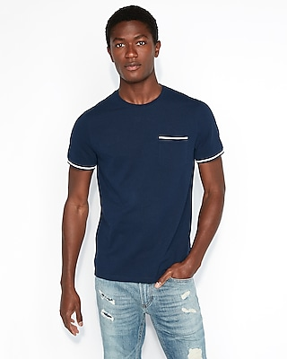 Express Mens Pique Tipped Crew Neck Tee