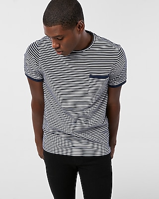 Express Mens Striped Pique Tipped Crew Neck Tee