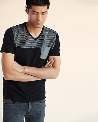 Express Mens Striped Slub V-Neck Tee Black L Tall 12892419