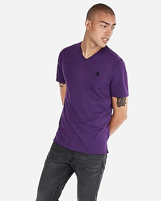 Express Mens Small Lion Eco-Friendly Stretch V-Neck Tee Purple Men's Xs Purple Xs