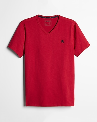 Express Mens Small Lion Eco-Friendly V-Neck Tee Red X Small