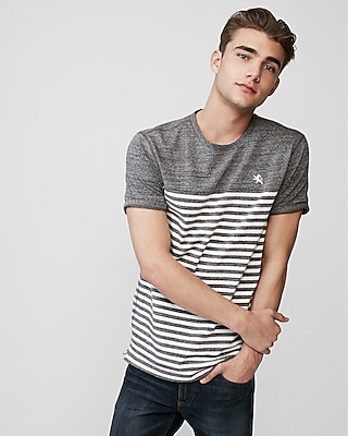 Express Mens Stripe Small Lion Eco-Friendly Stretch Crew Neck Tee