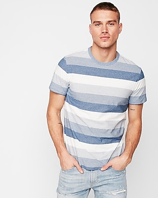 Express Mens Mini Stripe Short Sleeve Crew Neck Tee Blue Men's Xs Blue Xs