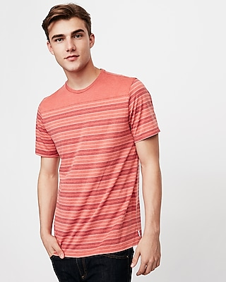 Express Mens Burnout Striped Crew Neck T-Shirt