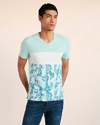 Express Mens Color Block Floral V-Neck Tee