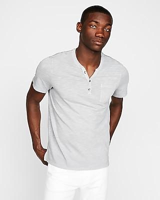Express Mens Garment Dyed Short Sleeve Henley