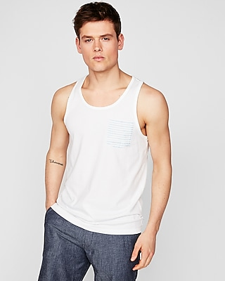 Express Mens Scoop Neck Striped Pocket Tank