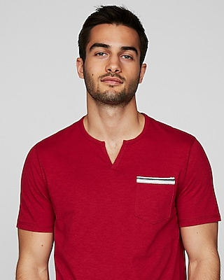Express Mens Striped Trim Pocket Notch Neck Tee Red Men's Xs Red XS