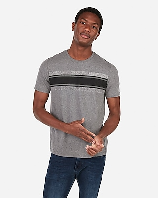 Express Mens Textured Stripe Print Crew Neck T-Shirt