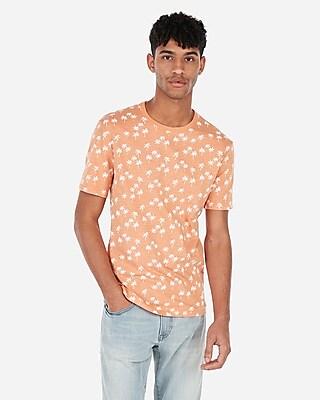 Express Mens Palm Print Short Sleeve Crew Neck T-Shirt