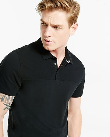 snap placket texture blocked signature polo