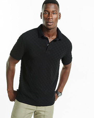 textured check signature polo
