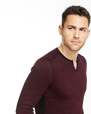 Express Mens Marled Button Notch Neck Long Sleeve Tee Red Small