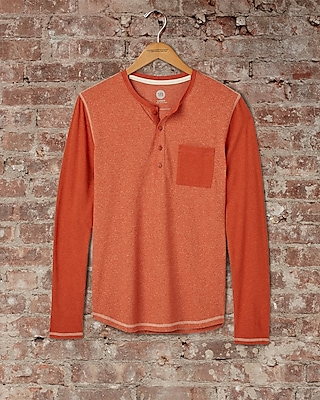 Express Mens Speckled Color Block Henley Brown Small