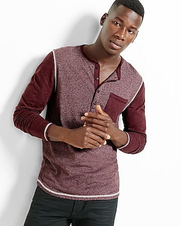 speckled color block henley