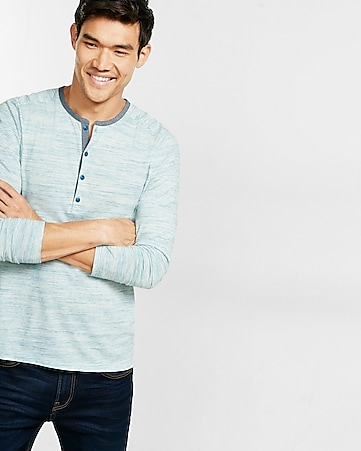 express one eleven marled chambray contrast henley