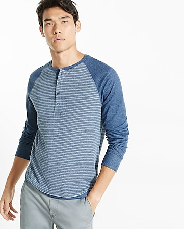 express one eleven double knit raglan henley