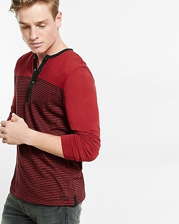 striped snap placket long sleeve henley