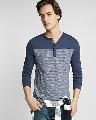 Express Mens Jersey Striped Color Block Henley