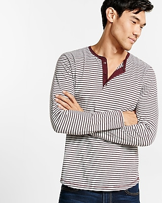 Express Mens Long Sleeve Striped Henley