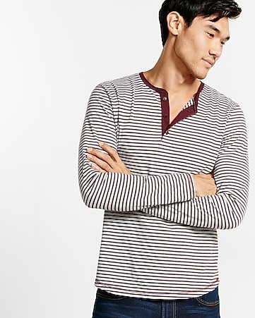 long sleeve striped henley