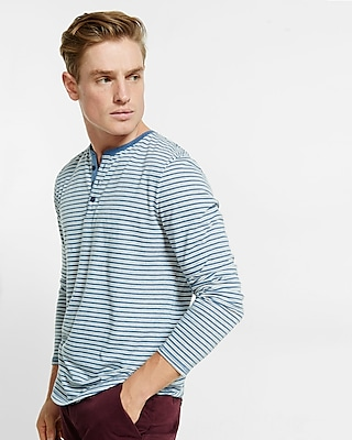 Express Mens Long Sleeve Striped Henley Blue Small