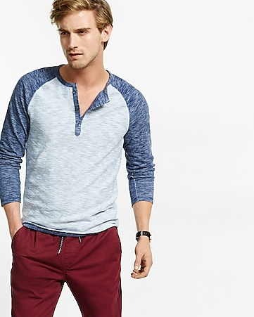 fine stripe long sleeve raglan henley