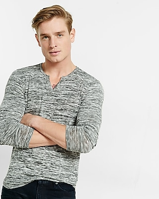 Express Mens Marled Notch Neck Henley Black Small
