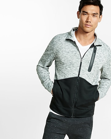 marled color block double knit track jacket