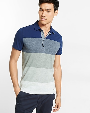 chambray placket striped signature polo
