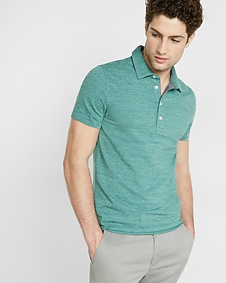 Express Mens Textured Space Dye Signature Polo Blue Small 10609293