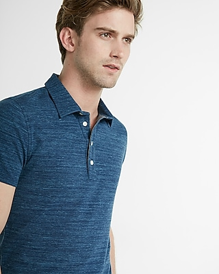 Express Mens Textured Space Dye Signature Polo Blue XX Large
