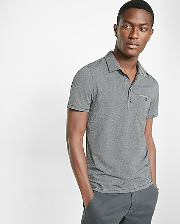chambray placket jacquard signature polo