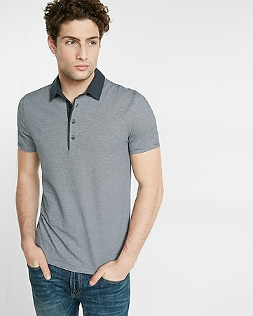 striped jacquard signature polo