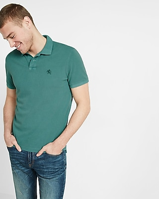 Express Mens Garment Dyed Small Lion Pique Polo Blue X Small