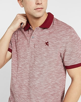 Express Mens Textured Small Lion Pique Polo Pink Small 10281529
