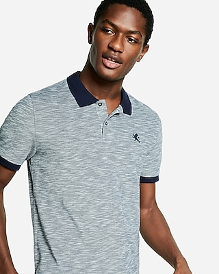 Express Mens Textured Small Lion Pique Polo