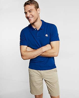 Express Mens Stretch Contrast Lion Pique Polo