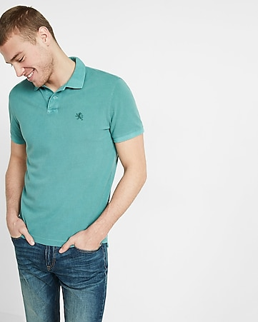 garment dyed small lion pique polo