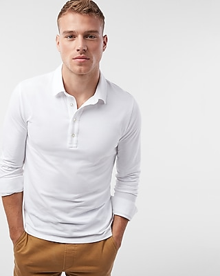 Express Mens Tipped Moisture-Wicking Stretch Signature Polo