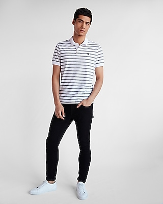 Express Mens Striped Space Dye Stretch Pique Polo