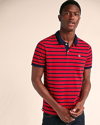 Express Mens Small Lion Space Dyed Stretch Pique Polo Red X Small