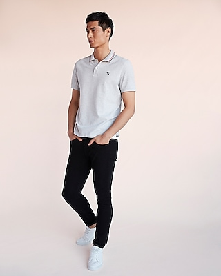 Express Mens Small Lion Tipped Stretch Pique Polo
