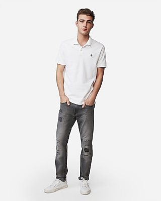 Express Mens Slim Fit Stretch Pique Polo