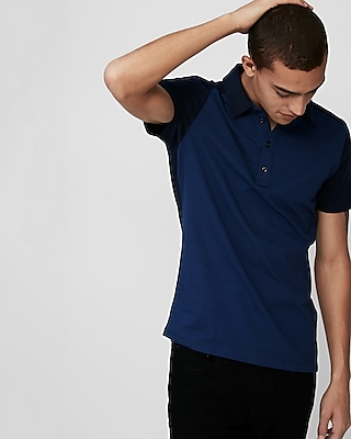 Express Mens Color Block Moisture-Wicking Stretch Signature Polo
