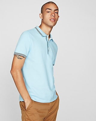 Express Mens Pique Tipped Polo Blue Men's Xs Blue XS