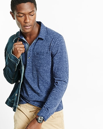 marled long sleeve chambray placket signature polo