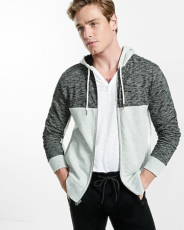color blocked fleece zip-up hoodie