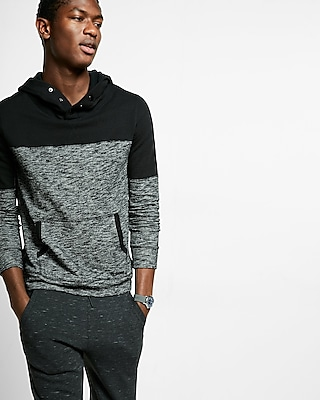 Express Mens Color Block Fleece Snap-Up Hoodie